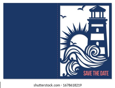 Laser cutting template. Nautical wedding pocket invitation. Save the date card. Lighthouse with ocean wave. Sea theme silhouette. Stencil design. Paper cutout. Vector.