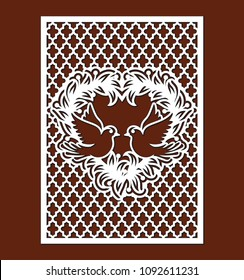 Laser cutting template of openwork vector silhouette for wedding invitation card. For envelope with dove birds, leaves and lattice with ogee ornament. Wall panels with decorative design pattern.