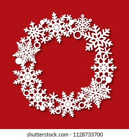 Laser cutting template of openwork vector winter pattern. Frame in shape of wreath with snowflakes. Silhouette of round border for xmas invitation card. Vintage Christmas decoration for paper cut out.
