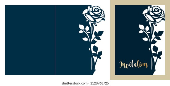 Laser cutting template of openwork vector silhouette. Floral wedding invitation with cutout rose. Lace border die cut card at vintage style for Valentine's day.
