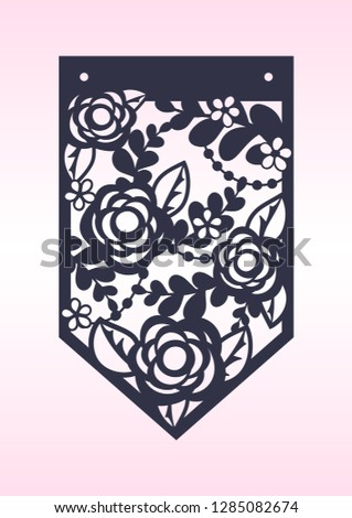 Laser Cutting Template Pennant Banner Die Stock Vector Royalty Free