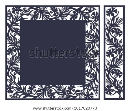 laser cutting template rustic floral paper stock vector royalty