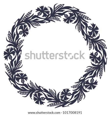 laser cutting template rustic wreath cornflowers stock vector