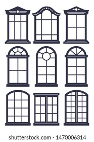 Laser cutting template. Set of arched isolated windows. Simple illustration of 9 window design for scrapbook layouts. Black and white vector. Die cut silhouette.