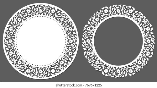 Laser cutting template. Set of round napkin with floral border. Vintage paper cutout lace doily. Die cut card with floral side. Round element design for wedding invitation. Vector illustration.