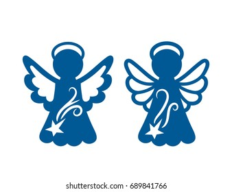 Laser cutting template. Silhouette of Christmas carved openwork angel. Graphic vector for wedding invitation, birthday card. Ornate stencil for baptism.