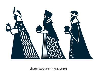 Laser cutting template. Silhouette three wise kings manger design isolated. Three kings of Bethlehem Nativity concept. Die cut  art design. Vector Illustration.