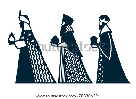 Laser Cutting Template Silhouette Three Wise Stock Vector (Royalty ...