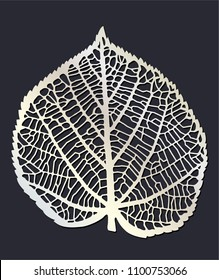 Laser cutting template. Skeleton of leaf.    One single leaf of lime tree or linden isolated.  Die cut stencil. Vector silhouette.