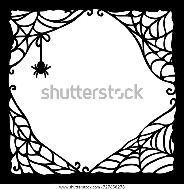 Laser cutting template. A spiderweb border on a white background. Vector illustration of paper cut silhouette. Halloween vintage ornate swirl pattern for poster, greeting card, print or banner.