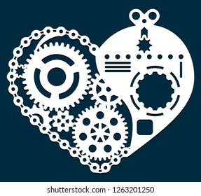 Laser cutting template. Valentine card with gear, bearing and chain. Steampunk heart design. Die cut mechanical heart. Geometric form. Paper or metal cutout. Vector Illustration.