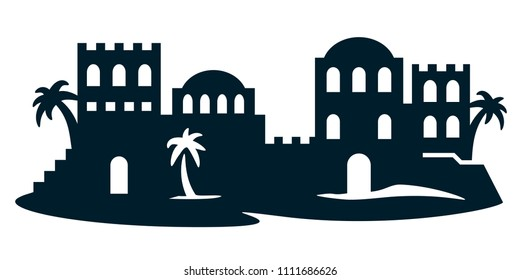 Laser cutting template. Vector illustration of city in the desert, bethlehem, biblical city. Cutout black and white art. Die cut silhouette. Picture suitable for engraving, cutting wood, metal, paper.