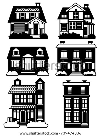 Laser Cutting Template A Set Various Houses เวกเตอร์สต็อก