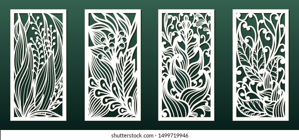 Laser cutting templates with floral pattern. Wood or metal  cut, stencil for fretwork or carving, paper art. Vector set, Panel decor for interior design, card background decoration or engraving.