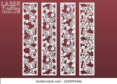 Laser and die cut decorative ornamental borders with pattern of butterflies and flowers. Set of bookmarks templates. Cabinet fretwork panel. Lasercut metal screen. Wood carving. Vector.