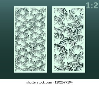 Laser and die cut ornamental panels template with pattern of ginkgo leaves. Lazer cut card. Silhouette pattern. Cabinet fretwork panel. Lasercut metal panel. Wood carving.