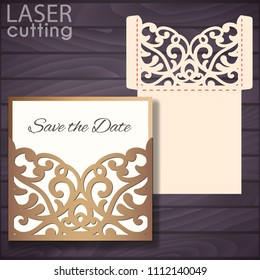 Laser and die cut pocket envelope template with lace pattern. Wedding invitation or greeting card with abstract ornament. Suitable for greeting cards, invitations, menus.