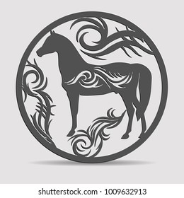 Laser die cuttin horse with tribal  in a circle.