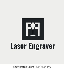 Laser engraver flat logo on white background. Minimalist logotype design .