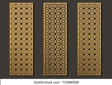 laser engraving panels set. Contemporary geometric pattern for metal cutting, paper screen, laser metallic, wood machine, partition, modular, wall cut.  Arabian interior design vector illustration.