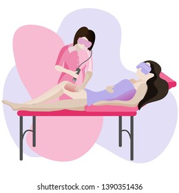 Laser epilation, vector illustration. Epilation in a beauty salon, cosmetology, photoepilation.Hair removal method.