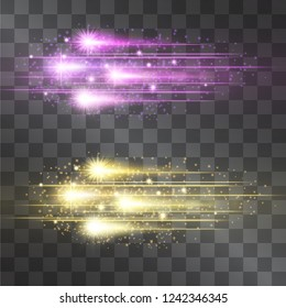 Laser glow vector comet illumination set. Motion effect light blinking on transparent background. Light energy meteor stream.  Power neon flicking flow of high speed particles, star shoot space shine.