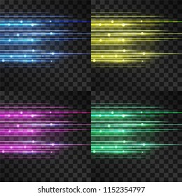 Laser glow vector illumination. Motion effect light blinking on transparent background. Light energy stream for modern hi tech. Power neon flicking flow of high speed particles, oscillated space shine