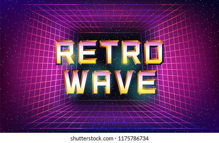 Laser grid tunnel in deep space and 'retrowave' text over it. Retro poster in 80s style