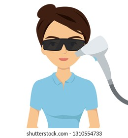 Laser hair removal face. Vector illustration on white background.