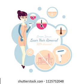 laser hair removal or IPL. Template of a banner for advertising of a salon of a laser cosmetology. Photoepilation beauty procedure