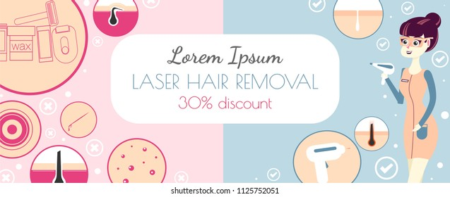 laser hair removal or photoepilation. Template of a banner for advertising of a salon of a laser cosmetology. IPL beauty procedure