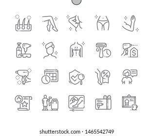 Laser hair removal Well-crafted Pixel Perfect Vector Thin Line Icons 30 2x Grid for Web Graphics and Apps. Simple Minimal Pictogram