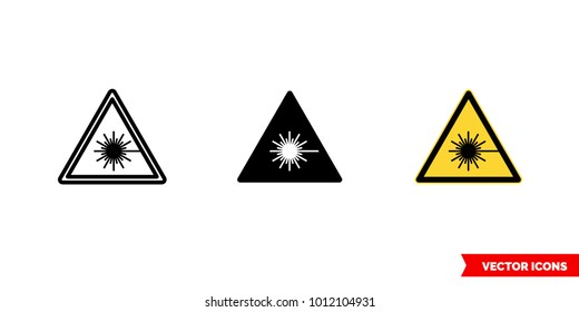 Laser hazard icon of 3 types: color, black and white, outline. Isolated vector sign symbol.
