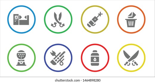 laser icon set. 8 filled laser icons.  Simple modern icons about  - Machine, Sabers, Cutter, Laser pen, Contact lens, Removed, Saber