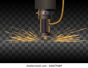 Laser machine for metal on transparent background. Laser cutting with sparkles. Vector illustration.