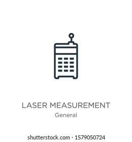 Laser measurement icon. Thin linear laser measurement outline icon isolated on white background from general collection. Line vector sign, symbol for web and mobile