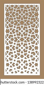 Laser pattern. decorative vector panel for laser cutting. Template for interior partition in arabesque style. Ratio 1:2