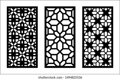 Laser pattern. Set of decorative vector panels for laser cutting. Template for interior partition in arabesque style. Ratio 1:2