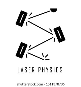 Laser physics glyph icon. Optics branch. Quantum electronics, laser construction, optical cavity. Light reflection. Optical experiment. Silhouette symbol. Negative space. Vector isolated illustration
