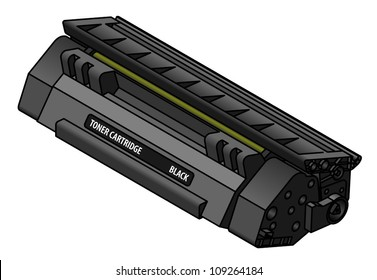 A laser printer toner cartridge - black.