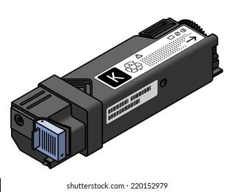 A laser printer toner cartridge - black.