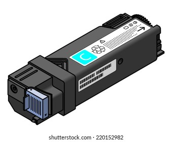 A laser printer toner cartridge - cyan.
