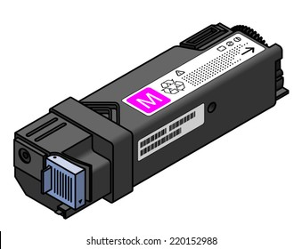 A laser printer toner cartridge - magenta.