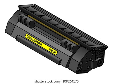 A laser printer toner cartridge - yellow.