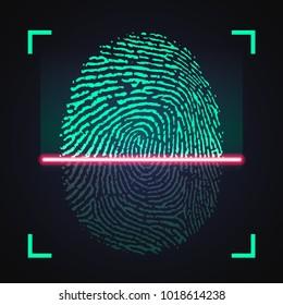 Laser scanning of fingerprint, vector illustration of digital biometric security technology