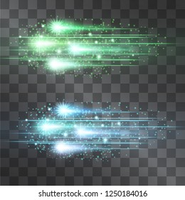 Laser shooting vector comet illumination set. Motion effect light blinking on transparent background. Light energy meteor stream. Power neon flow of high speed particles, star pulsing space shine.