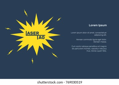 Laser tag banner, invitation, signboard, vector illustration vector, template for design, flash and lightning, text, blue, white, yellow