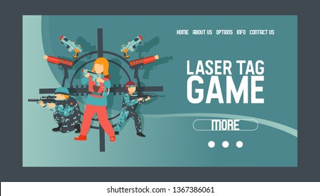 Laser tag game set of banners vector illustration. Gun, optical sight, trigger, vest, attachment rail. Game weapons. Child pistols. Spending free time. Playing with ray guns. Web design.