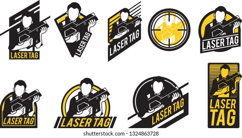 Laser Tag icon set vector design with lots of designs.