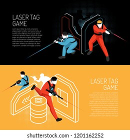 Laser tag multiplayer team game 2 isometric horizontal colorful background banners with players in action vector illustration